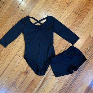 DANSKIN Black Leotard & Dance Shorts Size 6/6X